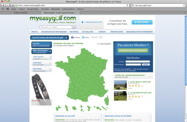 site myeasygolf golfs de france