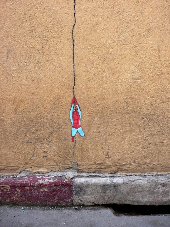 street art  spider man